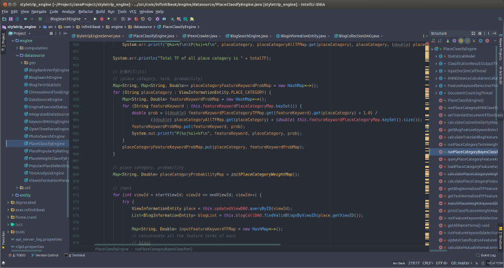 styletrip_engine [~-Project-JavaProject-styletrip_engine] - ...-src-com-infinitibeat-engine-datasource-PlaceClassifyEngine.java [styletrip_engine] - IntelliJ IDEA_006